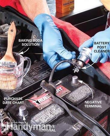 Clean the car battery surface