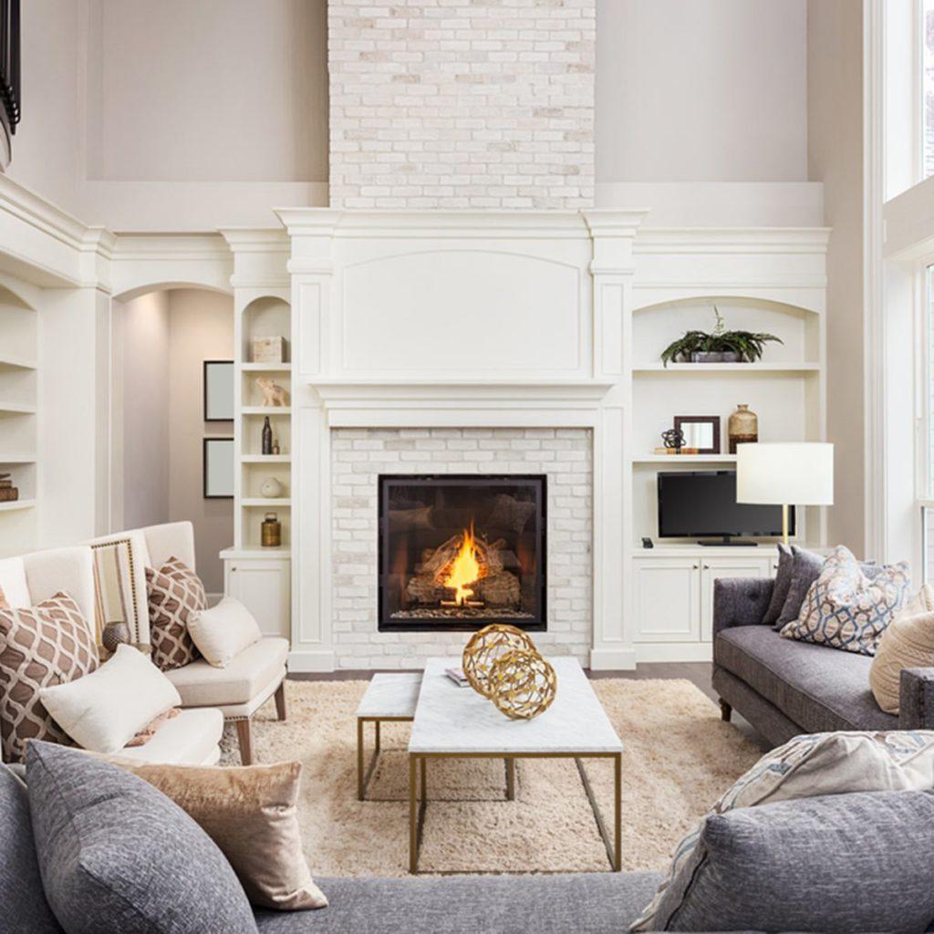 living room modern white fireplace