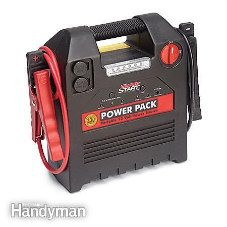 Jump-start a car with a power pack