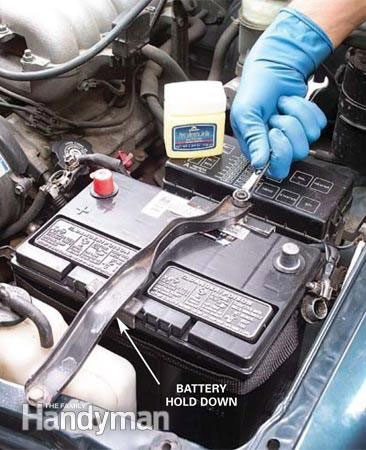 Secure the new car battery