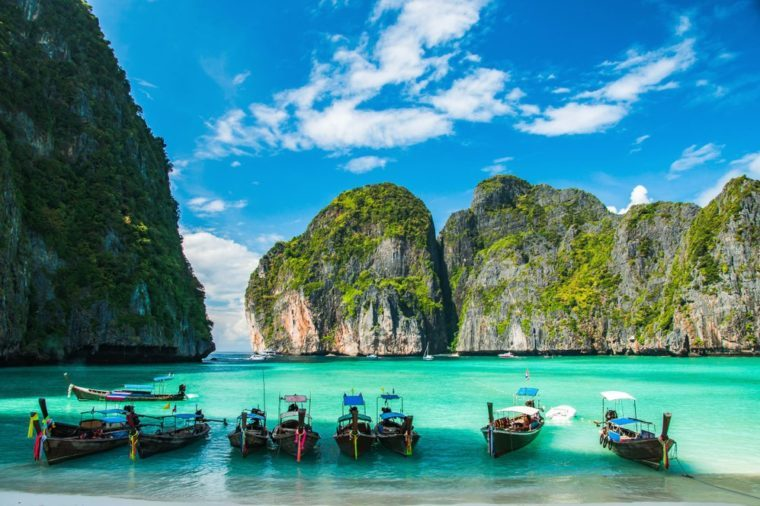 Maya Bay in Ko Phi Phi Le Island, Krabi Province of Thailand. South East Asia.