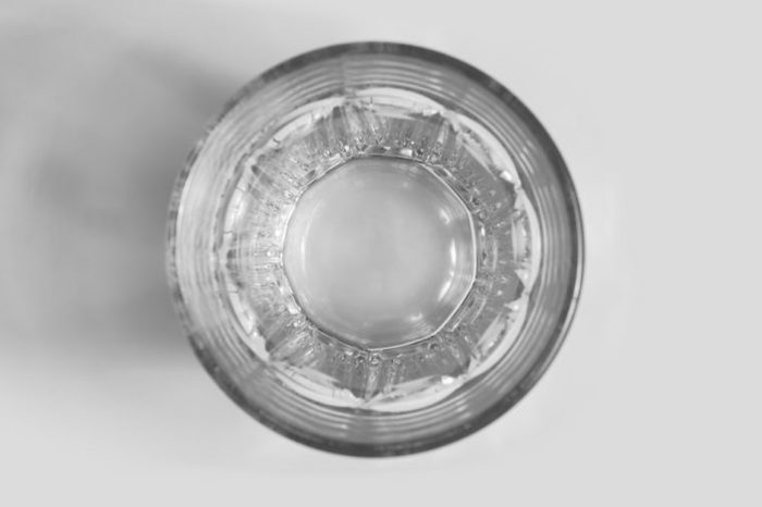 Selective focus point on Empty glass, top view