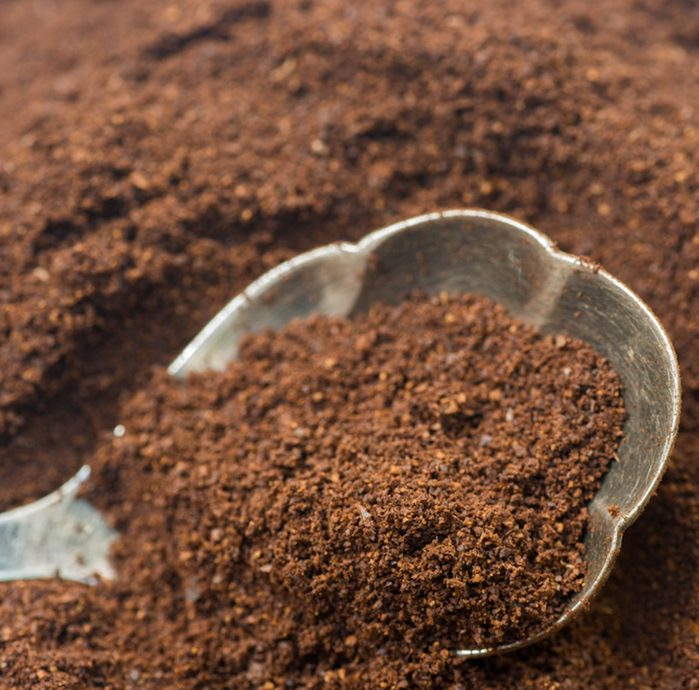 closeup to ground cofee in silver spoon;