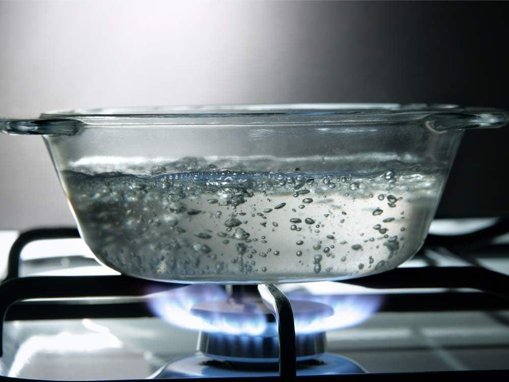 Boiling water in pot
