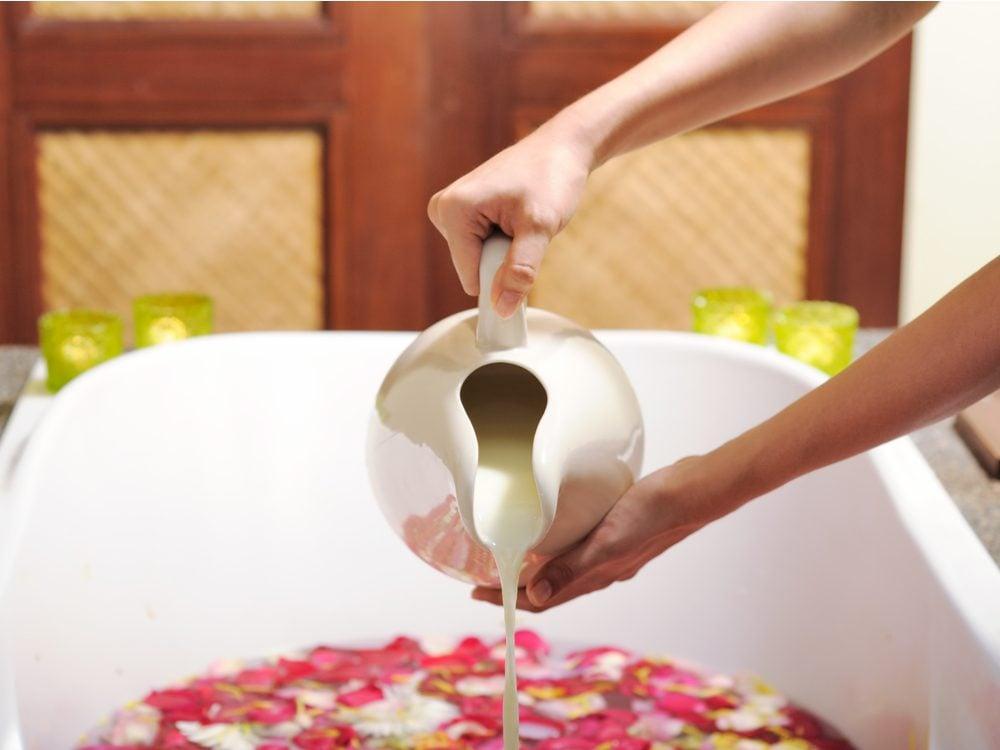 Pouring a milk bath