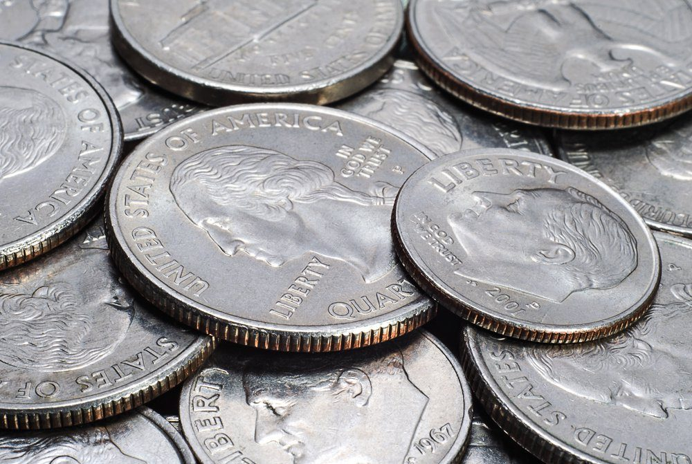 Heap of US coins closeup