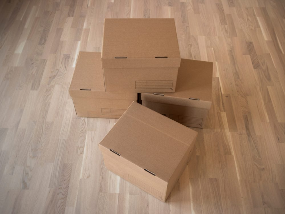 Cardboard boxes for storage