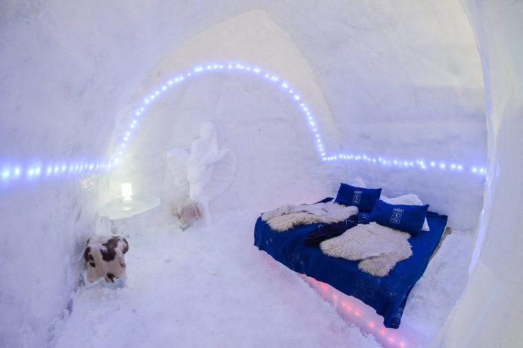BALEA, ROMANIA - JANUARY 27 2017 - Ice hotel in the frozen Balea Lake in the Fagaras mountains, Romania