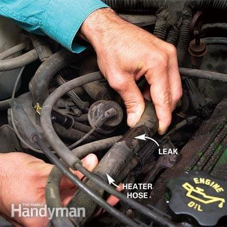 Car heater hose repair - look for the leak