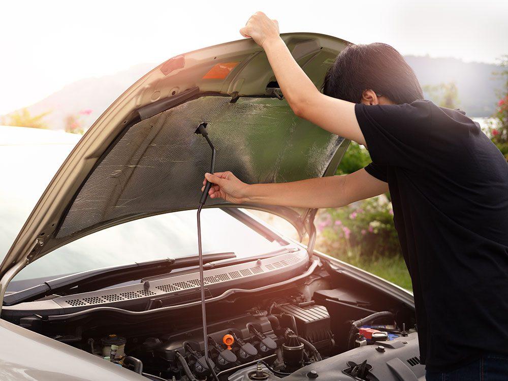 Heater hose repair - lift car hood