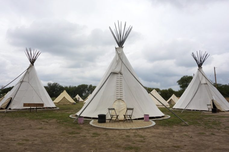 MARFA, TEXAS - September 20, 2014 - Teepees at El Cosmico