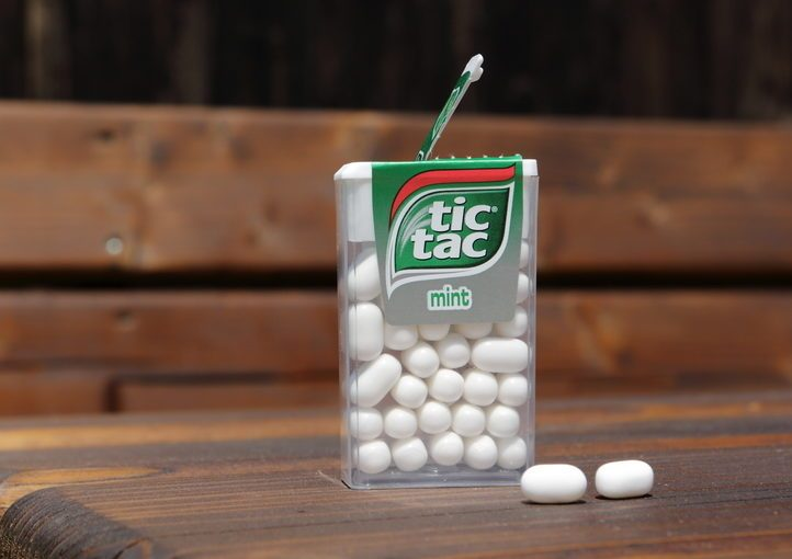 PRAGUE, CZECH - MARCH 19, 2015. Tic Tac mint. Tic Tac is a brand of small, hard mints, produced by Ferrero.
