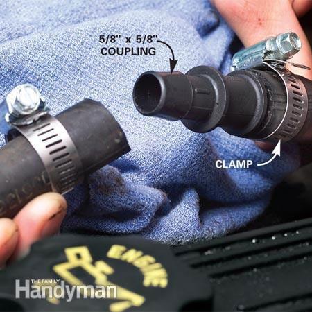 Heater hose repair - push hose onto coupling