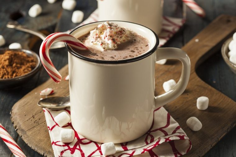 Homemade Peppermint Hot Chocolate with Whipped Cream