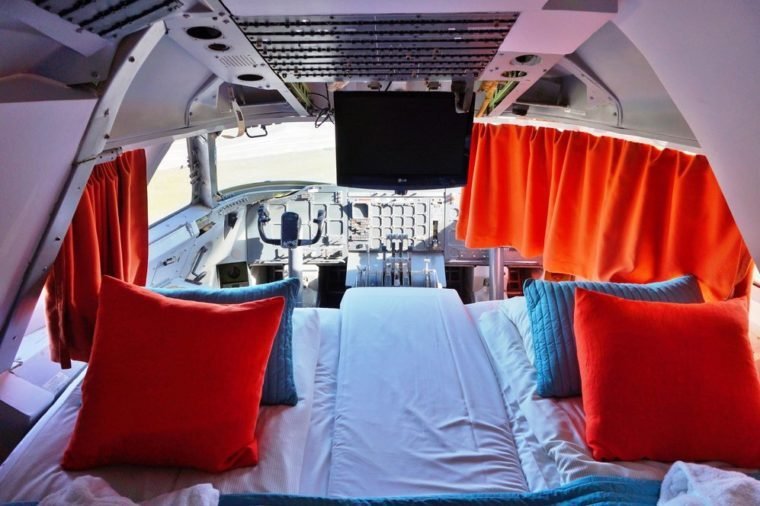 ARLANDA, SWEDEN -17 MAY 2014- Editorial: JumboStay is a unique hostel built inside a decommissioned Boeing 747-200, including cockpit and reactors, at the Arlanda airport near Stockholm.