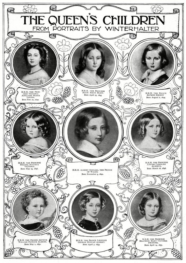 Historical Collection 180 Queen Victoria's Nine Children From Portraits by the German Painter Franz Xaver Winterhalter From Left to Right: Princess Vicky of Great Britain(1840-1901 Later Victoria Empress of Germany) Eldest Daughter of Queen Victoria Princess Alice(1843-78 Later Duchess of Hesse-darmstadt) Third Child and Second Daughter of Queen Victoria Prince Alfred 'Affie' (1844-1900 Later Duke of Edinburgh) Second Son and Fourth Child of Queen Victoria Princess Helena 'Lenchen' (1846-1923 Later Princess Christian of Schleswig-holstein) Third Daughter and Fifth Child of Queen Victoria Edward Prince of Wales (1841 - 1910 Later King Edward Vii) Princess Louise (1848-1939 Later Duchess of Argyll) Sixth Child and Fourth Daughter of Queen Victoria Prince Arthur Duke of Connaught (1850-1942) Fourth Son and Seventh Child of Queen Victoria Prince Leopold(1853 - 1884 Later Duke of Albany) Fourth Son of Queen Victoria Princess Beatrice(1857-1944 Later Princess Henry of Battenberg) Youngest Child of Queen Victoria