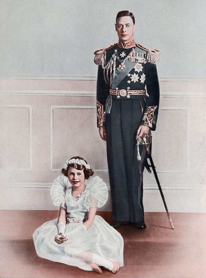 Historical Collection 84 King George Vi Stands Behind His Eldest Daughter Princess Elizabeth Who is Wearing A Bridesmaid Dress 1936