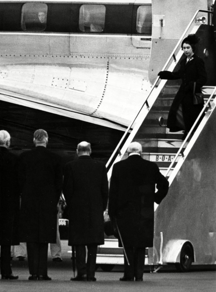 Historical Collection 84 The New Queen Elizabeth Ii Dressed in Black - Mourning Her Recently Deceased Father King George Vi - Returns to the Uk After Cutting Short Her Holiday in Kenya After Receiving the News She is Met by Various Politicians and Dignitaries Including Prime Minister Winston Churchill 1952