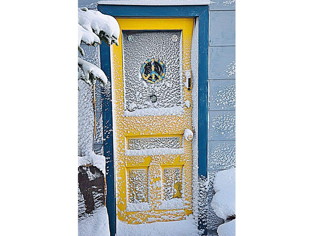 Yellow door in winter