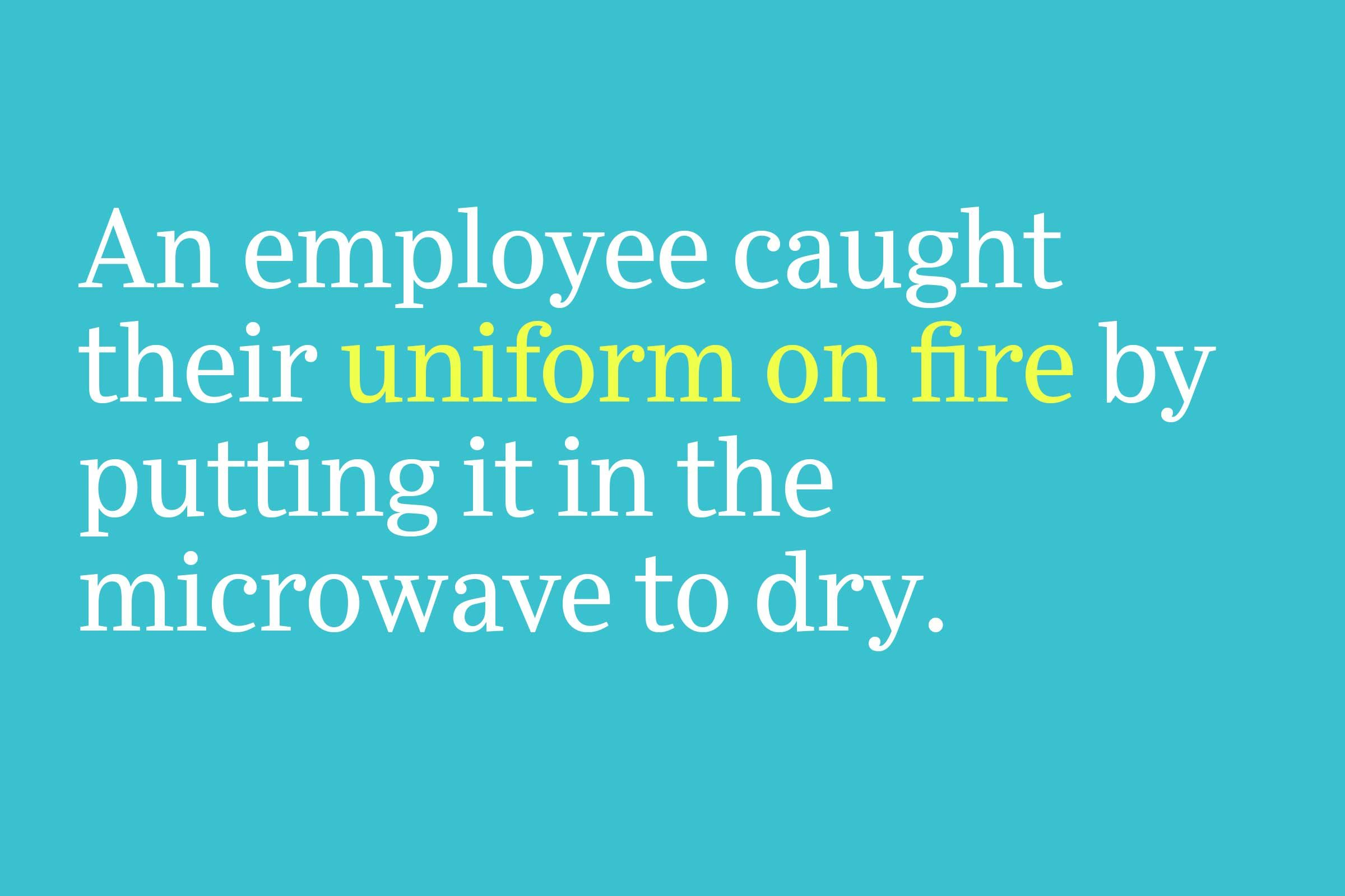 uniform on fire