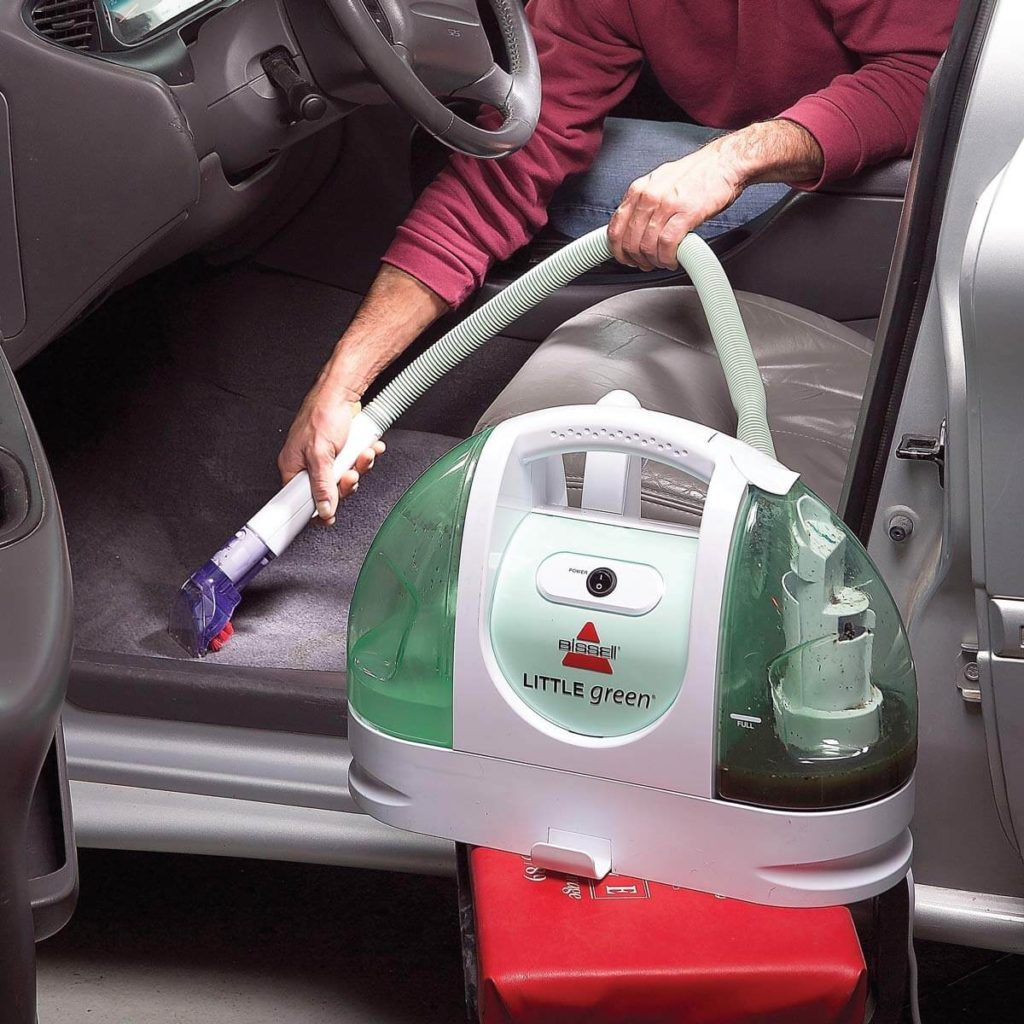 Cleaning carpet of car