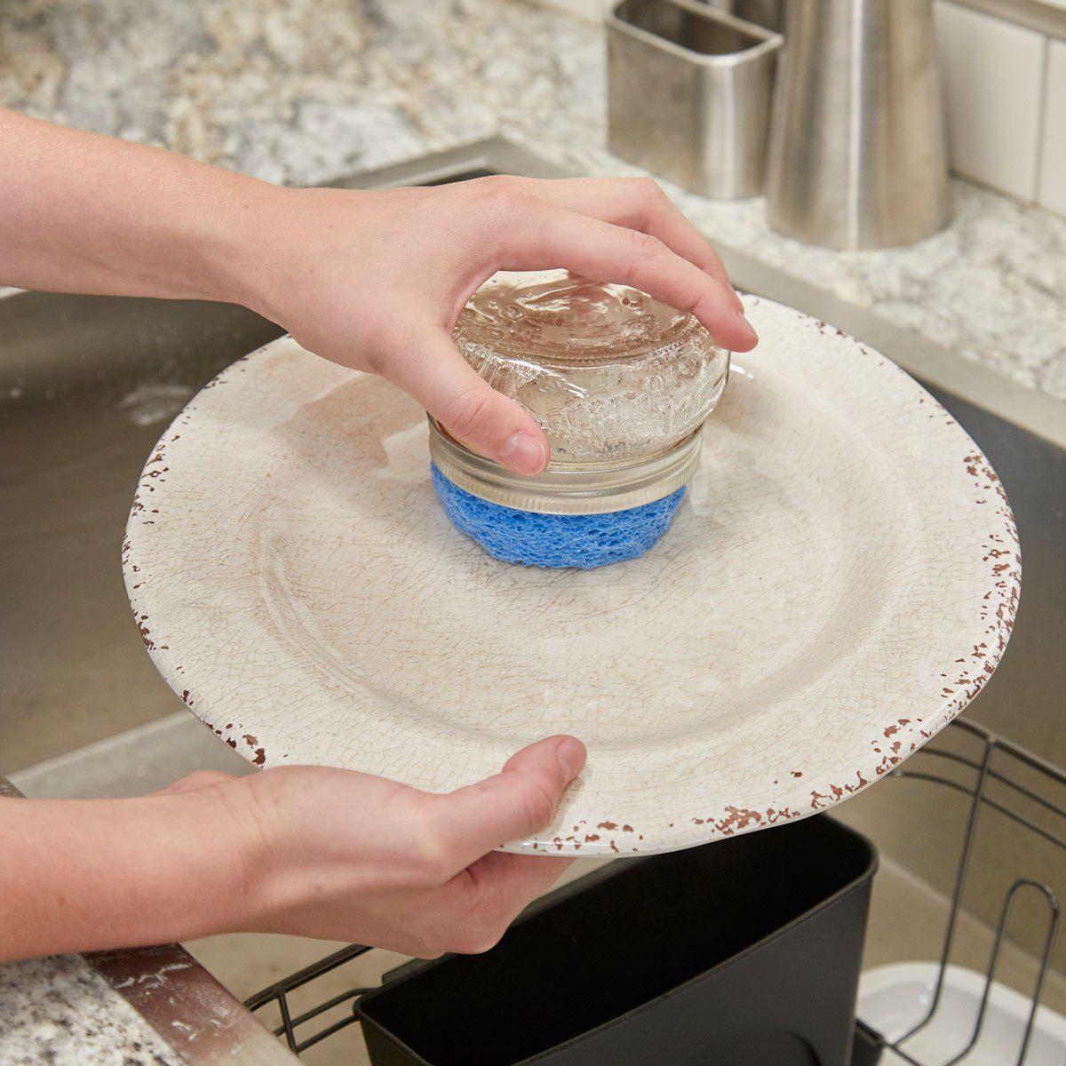HH Handy Hint DIY dish scrubber mason jar