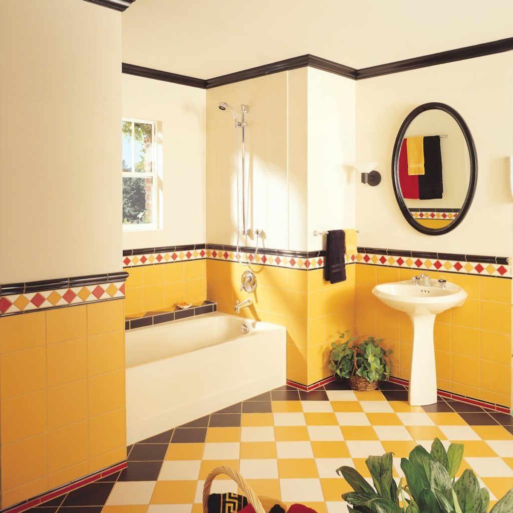 Garishly decorated bathroom