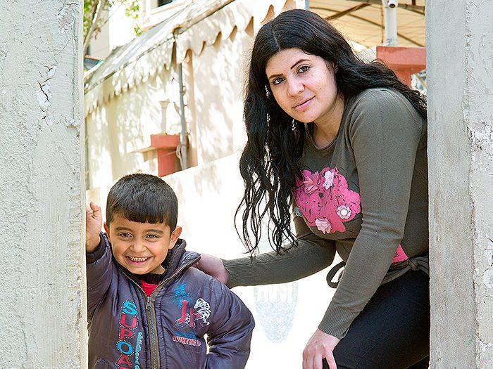 Maan with his teacher Laura Hijazi