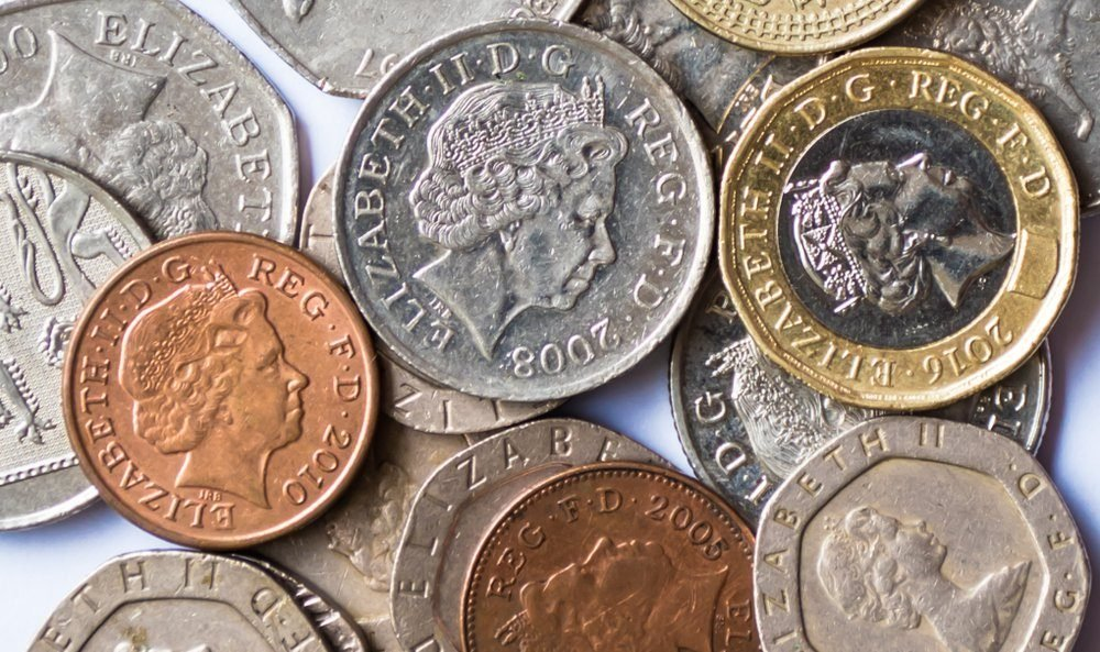 British coins on white backgrounds, British coins.
