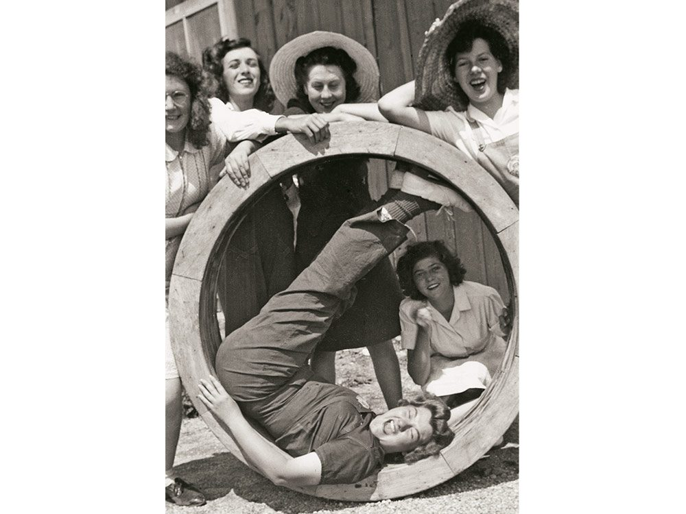 Farmerettes at Camp 6 sharing a laugh