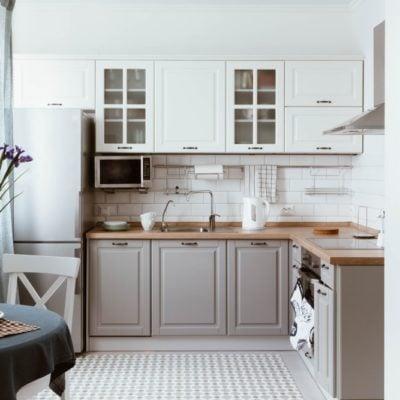 Scandinavian interior design. White grey kitchen room organization