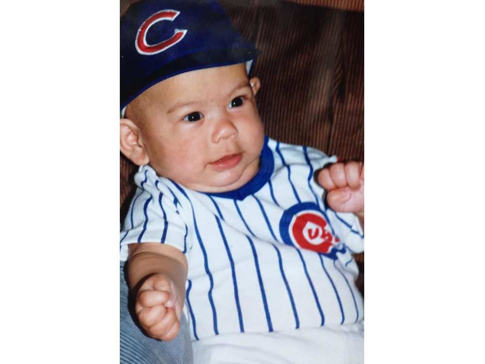 Baby in Chicago Cubs costume
