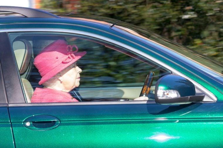 Queen Elizabeth II drives herself to church, Windsor, UK - 25 Feb 2018