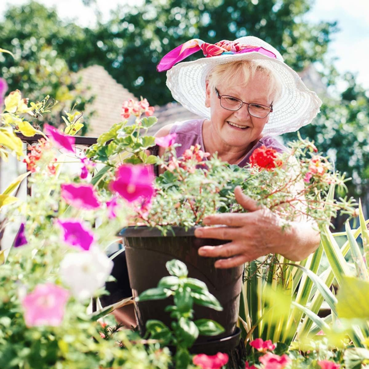 grandma in the garden gardening