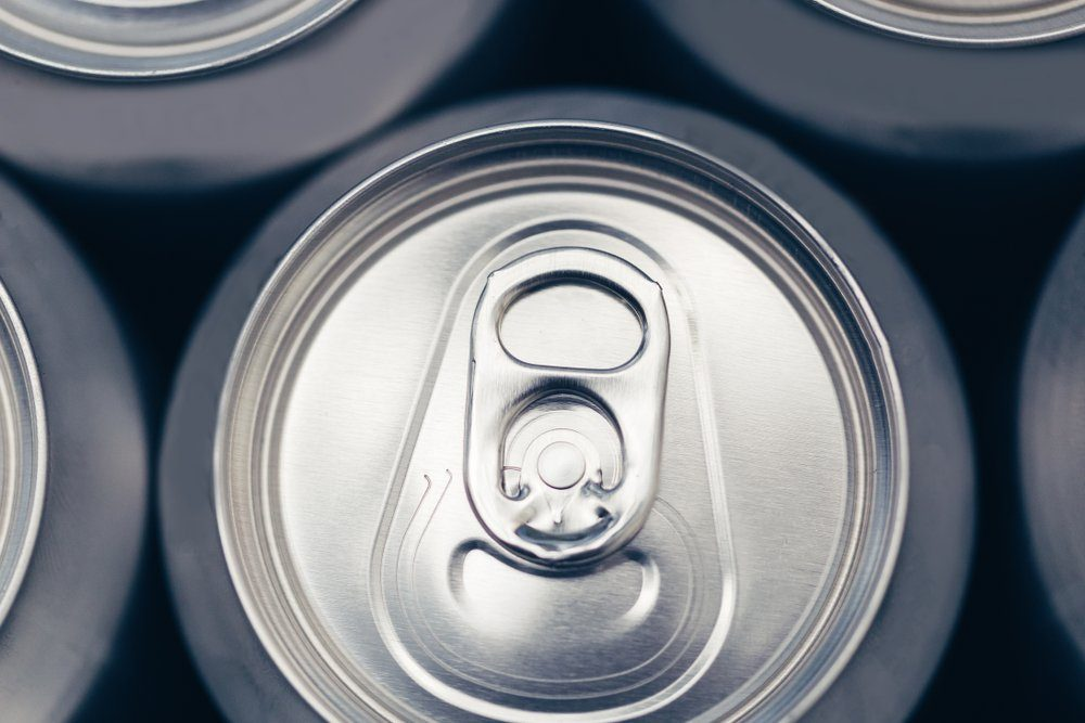 Silver metal drinks cans overhead view