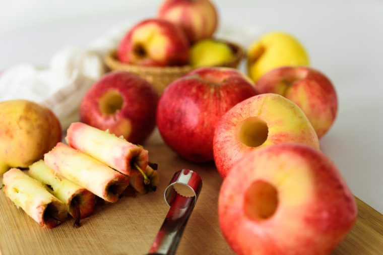Fresh apples without core. Removed with corer tool. Ingredient for jam or pie. Harvest
