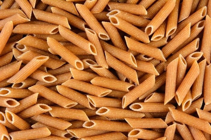 Whole Wheat Penne Rigate closeup.
