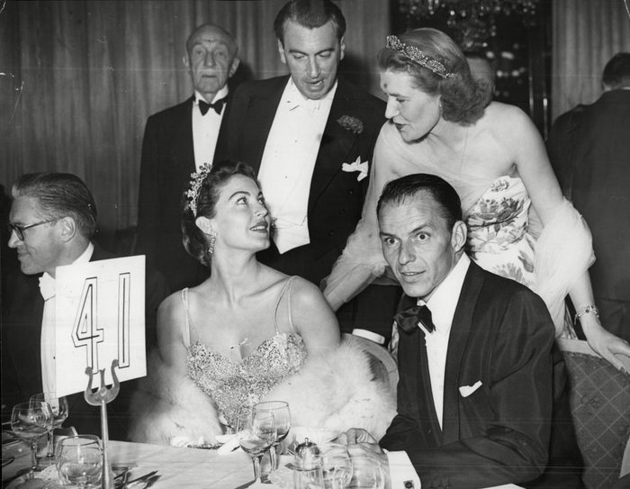 Lord And Lady Mancroft Stop To Chat To Film Star Ava Gardner And Her Husband Frank Sinatra At The Primrose League Coronation Ball At The Dorchester Hotel.