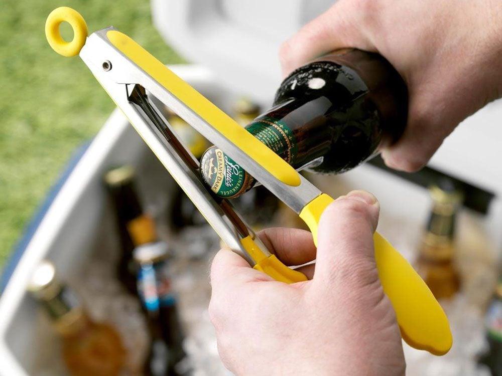Uses for kitchen tongs - bottle opener
