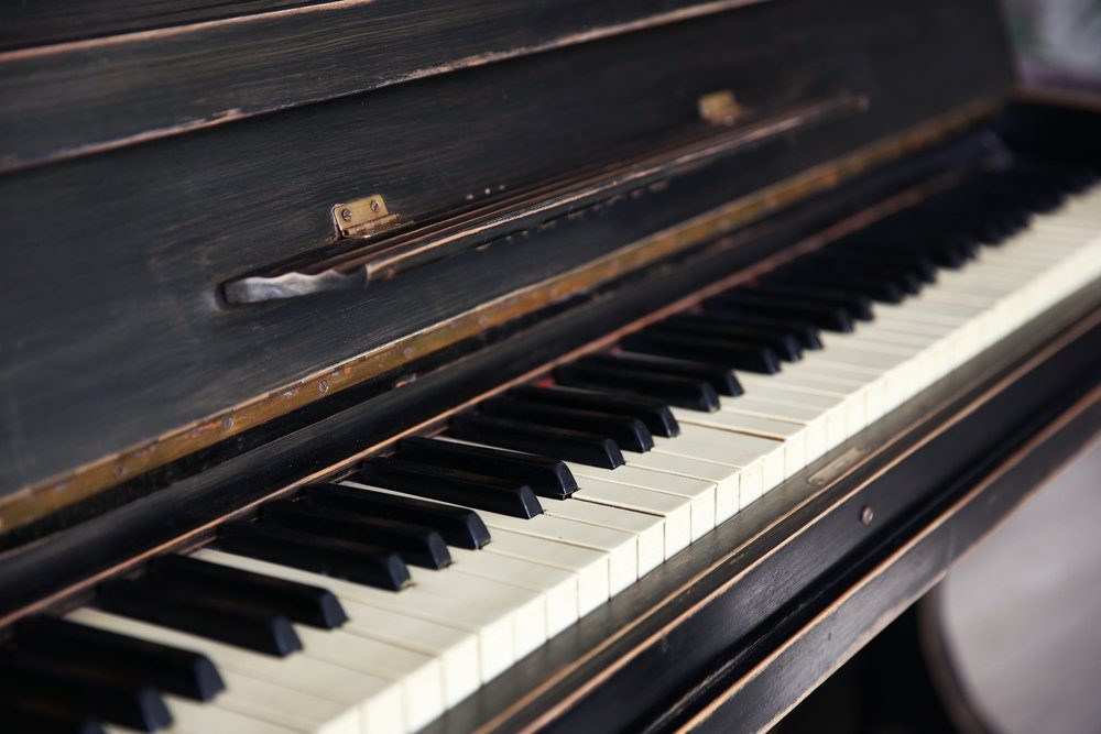 Vintage old piano, close up