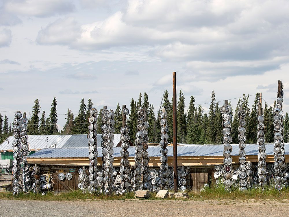 Best place in the Yukon - hubcap totem poles