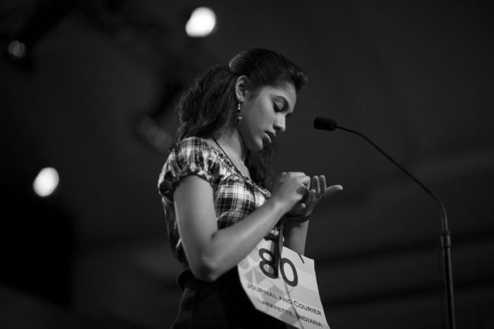 13-year-old Modhura Chakravarty of Lafayette Indiana Spells a Word Into Her Hand During the Semifinals of the Scripps National Spelling Bee in Washington Dc Usa 04 June 2010 United States Washington