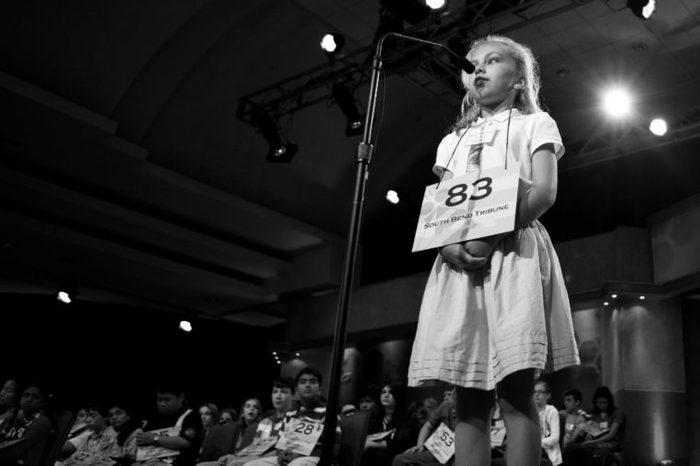 Margaret Peterson, of Granger, Ind., competes during the third round at the 2010 Scripps National Spelling Bee in Washington