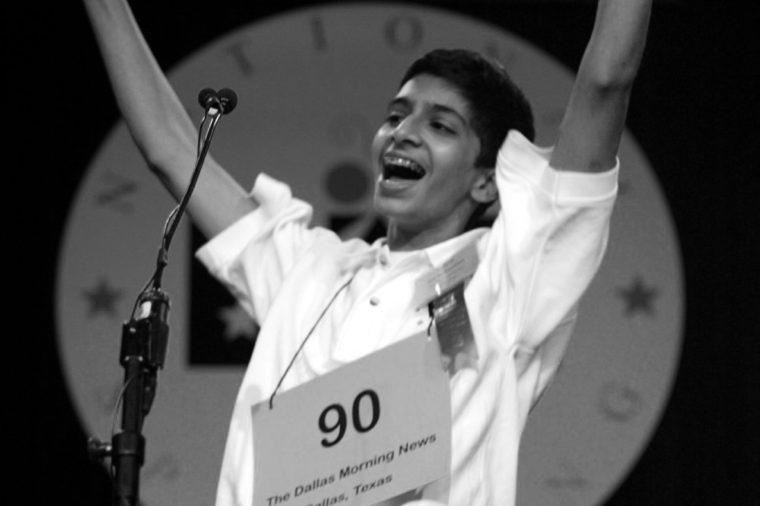 GUNTURI Sai Gunturi, 13, of Dallas, reacts agter winning the 76th annual National Spelling Bee in Washington