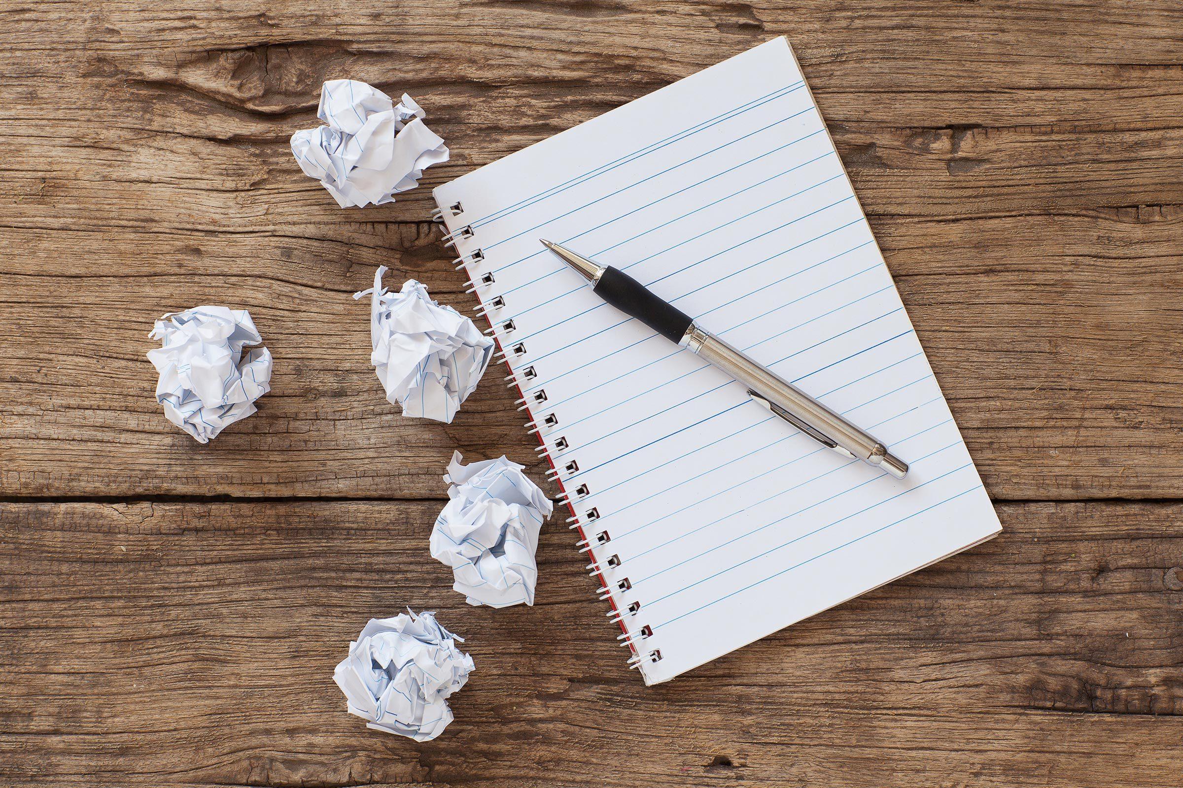 crumpled paper notebook