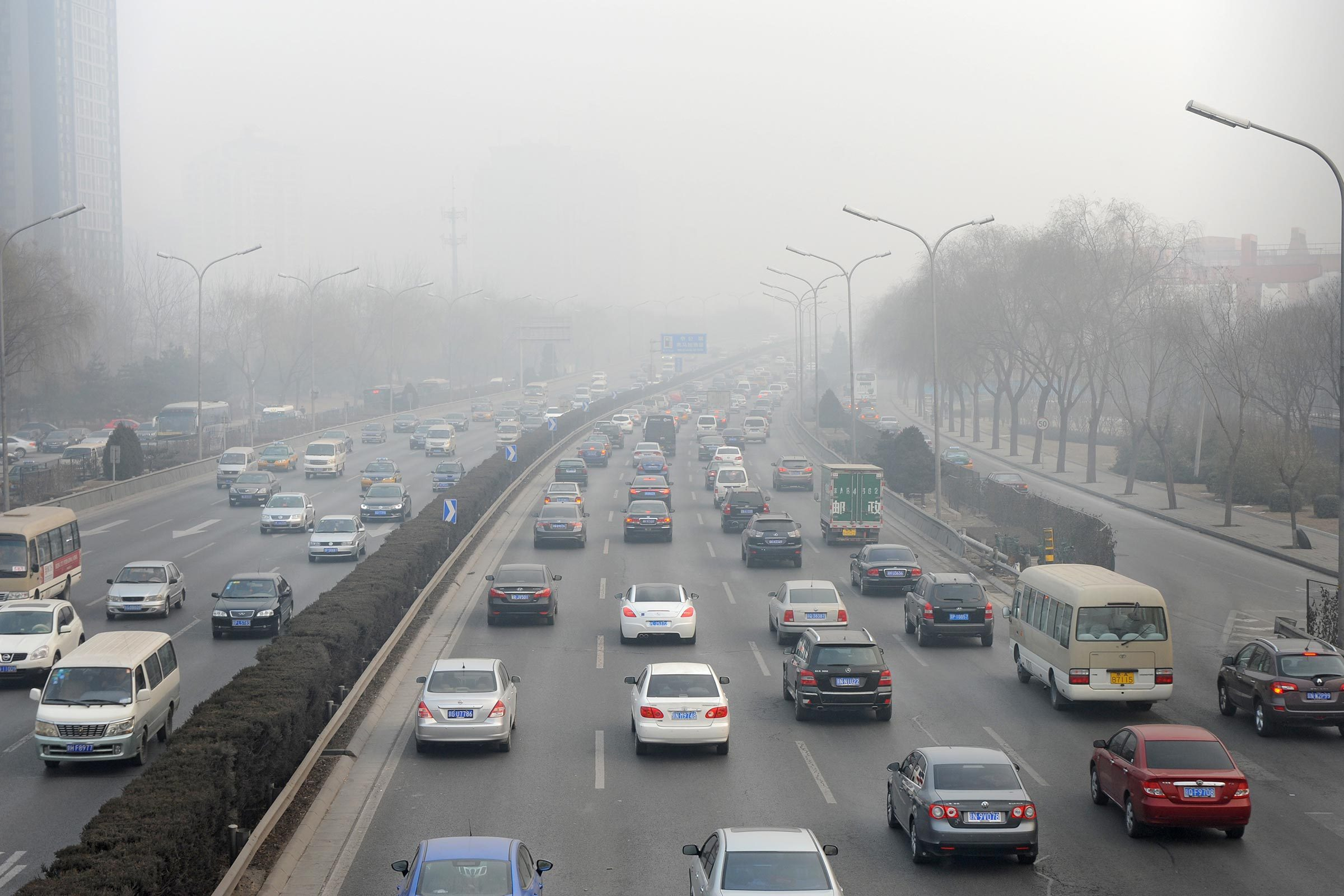 cars highway traffic fog smog