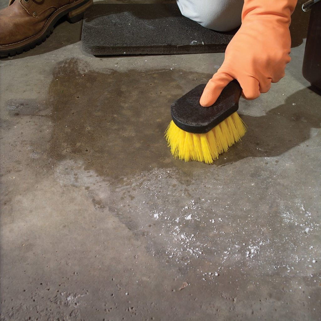 scrubbing garage floor