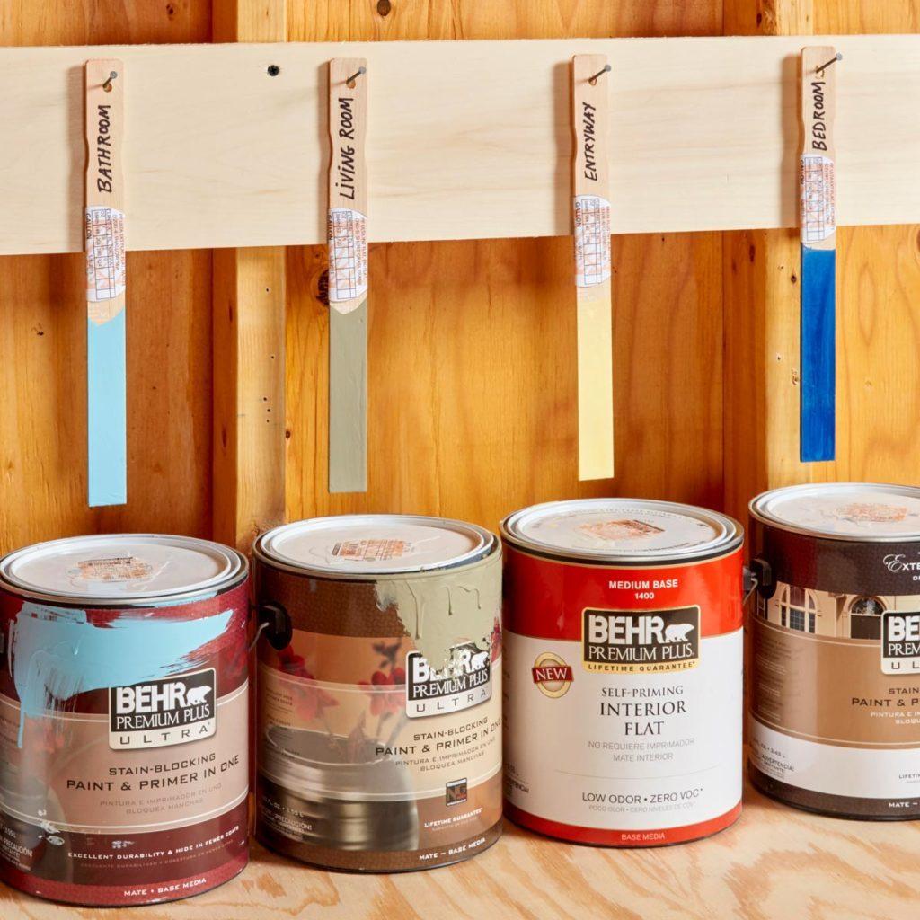 Stir paint stick organizer