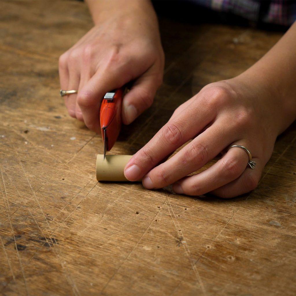 slice off piece of cork