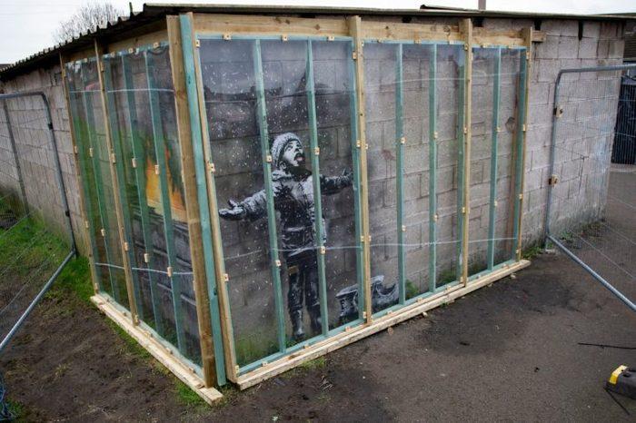 Banksy graffiti artwork in Port Talbot, Wales, UK - 11 Jan 2019